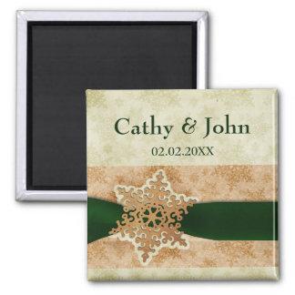 grüne Magneten der Schneeflocken Save the Date