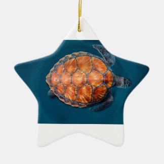 Grüne Meeresschildkröte Keramik Stern-Ornament