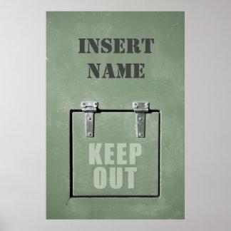 Grüne Metalltür, behalten heraus Poster