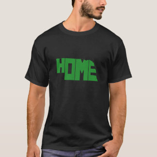 Grüne Nebraska-Zuhause-Staats-Wortkunst T-Shirt