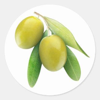 Grüne Oliven Runder Aufkleber