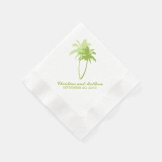 Grüne Palme-Strand-Hochzeit Papierservietten
