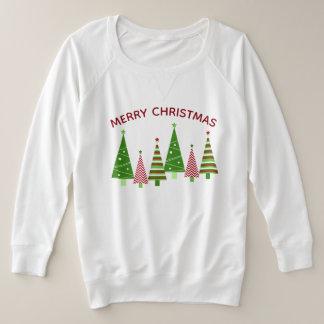 Grüne rote Feiertags-Weihnachtsbäume Große Größe Sweatshirt