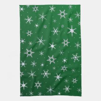Grüne Schneeflocken Küchentuch
