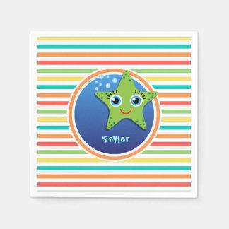 Grüne Starfish; Helle Regenbogen-Streifen Servietten