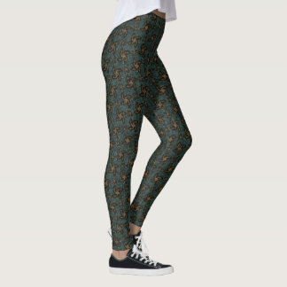 Grüne u. orange Spiralen Leggings