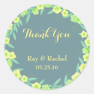 Grüne und blaue Blumen danken Ihnen Runder Aufkleber