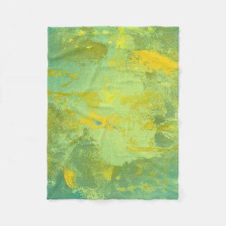 Grüne und gelbe abstrakte Kunst Fleecedecke