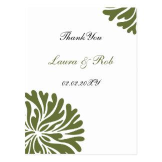 Grüne und Weiß danke Karten Postkarte