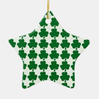 Grüne und weiße Kleeblatt-Muster-Schablone Keramik Stern-Ornament