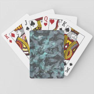Grüne und weiße Tinte auf schwarzem Hintergrund Spielkarten