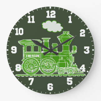Grüne und weiße Wanduhr des Spaßkindernamen-Zugs