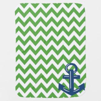 Grüne und weiße Zickzack Ankerthrow-Decke Kinderwagendecke