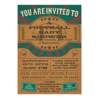 Grüne Vintage Fußball-Baby-Duschen-Einladung 12,7 X 17,8 Cm Einladungskarte