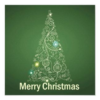 Grüne Weihnachtsgruß-Karte Quadratische 13,3 Cm Einladungskarte