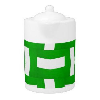grüne/weiße basketweave Muster-Druckteekanne
