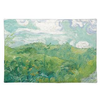 grüne Weizen-Felder Van Gogh Stofftischset