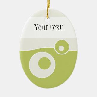 Grüne Welle Ovales Keramik Ornament