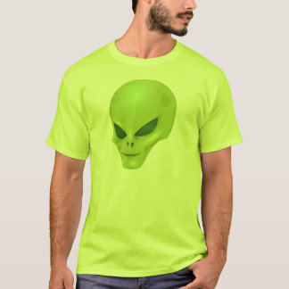Grüner alien-Kopf-T - Shirt