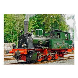 Grüner Dampf-Motor Grußkarte