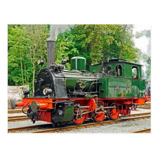 Grüner Dampf-Motor Postkarten