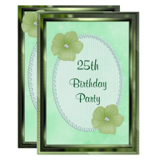 Grüner Diamant-Blumen-u. Perlen-25. Geburtstag 12,7 X 17,8 Cm Einladungskarte