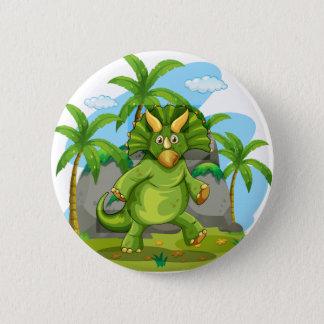 Grüner Dinosaurier stehend auf zwei Fuß Runder Button 5,7 Cm