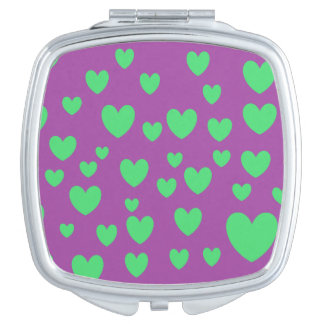 Grüner Herz-Quadrat-Vertrags-Spiegel Schminkspiegel