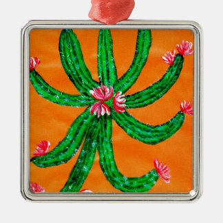 Grüner Kaktus 2 Quadratisches Silberfarbenes Ornament