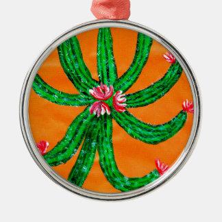 Grüner Kaktus 2 Rundes Silberfarbenes Ornament