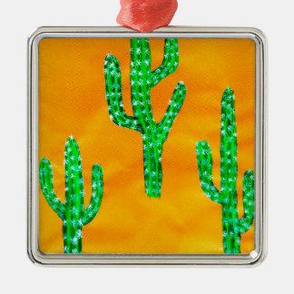 Grüner Kaktus 3 Quadratisches Silberfarbenes Ornament