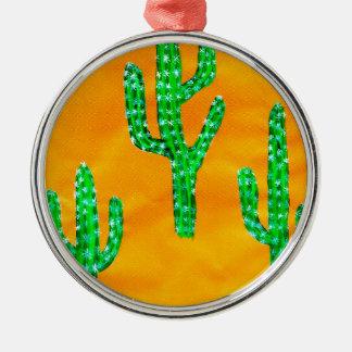 Grüner Kaktus 3 Rundes Silberfarbenes Ornament