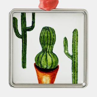 Grüner Kaktus 4 Quadratisches Silberfarbenes Ornament