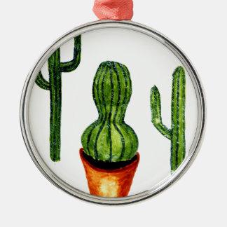 Grüner Kaktus 4 Rundes Silberfarbenes Ornament