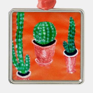 Grüner Kaktus Quadratisches Silberfarbenes Ornament