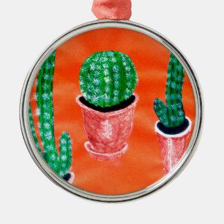 Grüner Kaktus Rundes Silberfarbenes Ornament