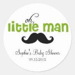 Grüner kleiner Mann-Schnurrbart-Babyparty-Aufklebe