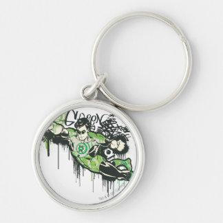 Grüner Laternen-Graffiti-Charakter Silberfarbener Runder Schlüsselanhänger