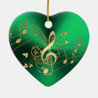 Grüner Musiknoten und Clef-Weihnachtsverzierung Keramik Ornament
