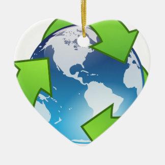 Grüner Planet Keramik Herz-Ornament