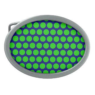 Grüner Punkt-blaue ovale Schnalle Ovale Gürtelschnallen