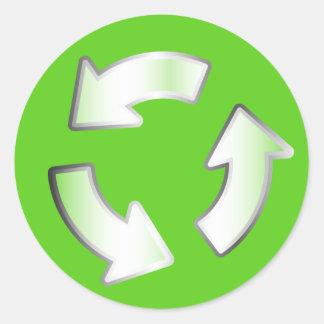 Grüner recycelnder 3 Pfeil-Zyklus-Kreisaufkleber Runder Aufkleber