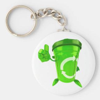Grüner recycelnder Behälter Keychain Schlüsselanhänger