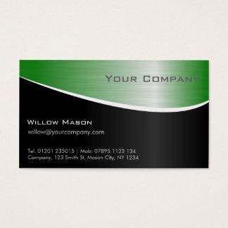 Grüner Stahleffekt, berufliche Geschäfts-Karte Visitenkarte