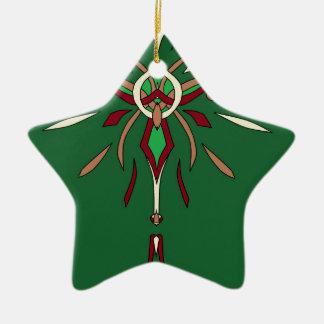 Grüner Sternexplosion-Designer St. Patricks Tages Keramik Stern-Ornament