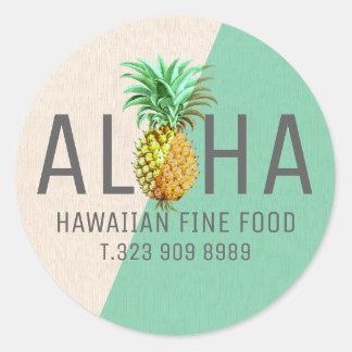 Grüner u. beige Leinentext Aloha mit Ananas Runder Aufkleber