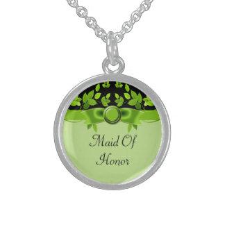 Grüner u. schwarzer Baum verlässt Hochzeit Sterling Silberkette