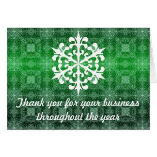 Grüner u. weißer Geschäfts-Feiertag danken Ihnen Mitteilungskarte