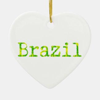Grüner und gelber Schriftart Brasiliens Keramik Herz-Ornament