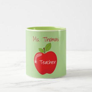 Grüner und roter Lehrer Apple Zweifarbige Tasse